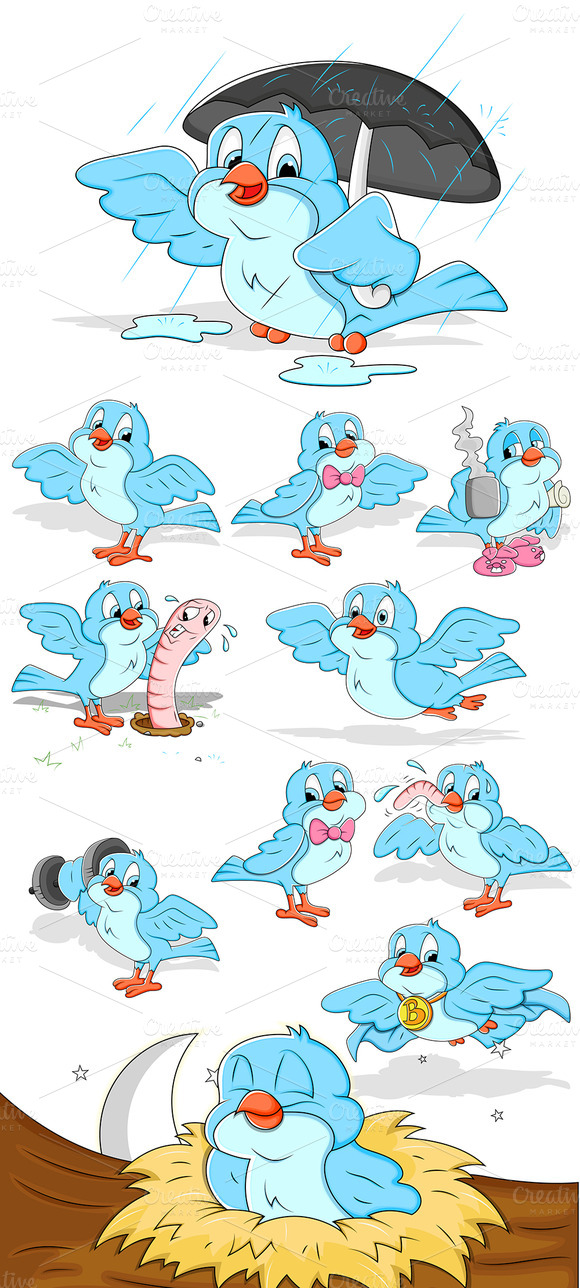 Cartoon Sparrow Vectors