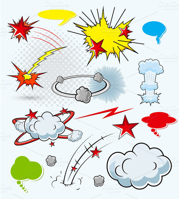 Comic Explosions Vector Elements