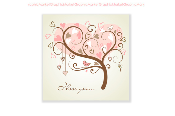 Tree With Hearts And A Bird Card