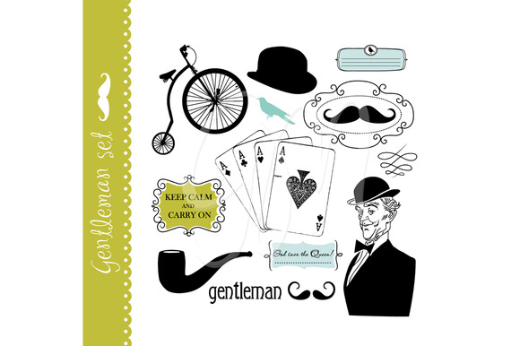 Gentleman Clip Art Set Mustache