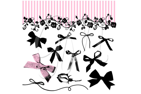 20 Ribbon Bows Clip Art And Roses