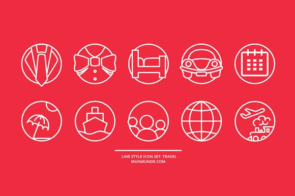 Line Style Icon Set Travel