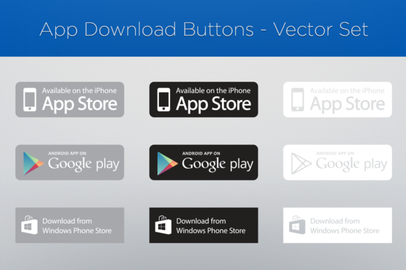 App Download Buttons Vector Set