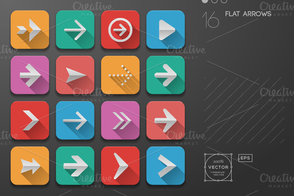 Arrows Icons Flat Ui Design