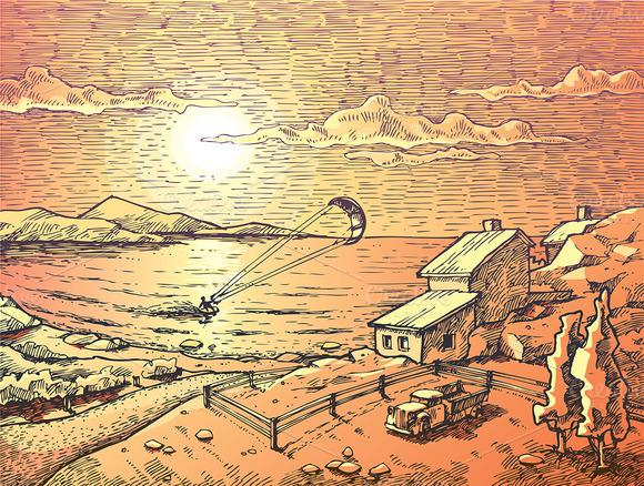 Sunset Kite-surfing
