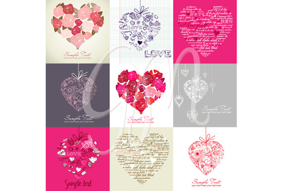 Card Set Of 9 Heart Designs Clip Art