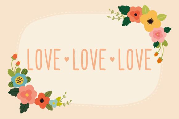 Pink Set Love Flowers