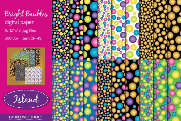 Bright Baubles Holiday Digital Paper