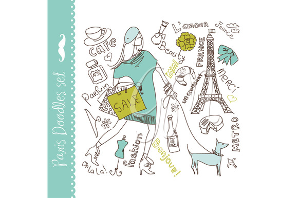 Paris Doodles Clip Art Set Eps