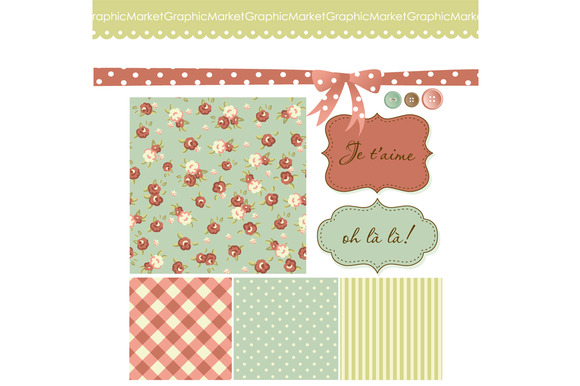 Shabby Chic Roses Scrapbook Clip Art