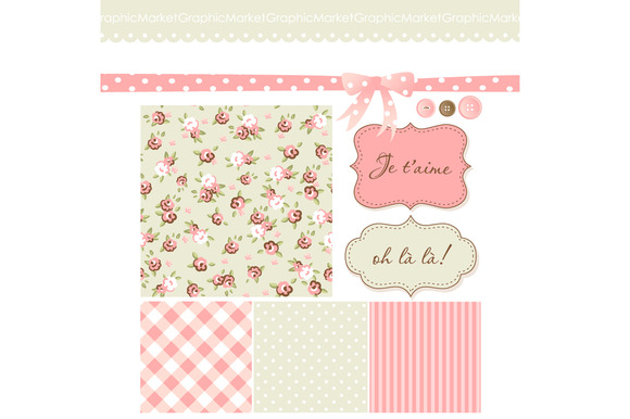 Shabby Chic Scrapbook Papers Clipart
