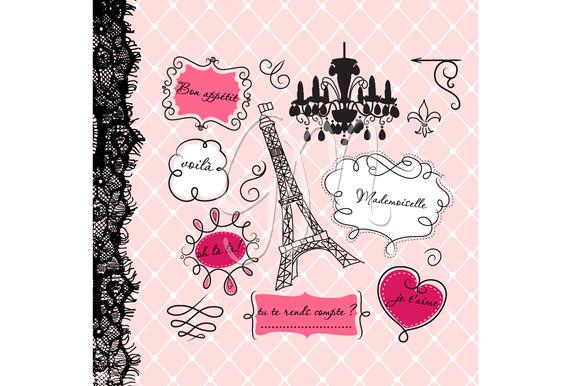 12 Paris Frames Clip Art Background