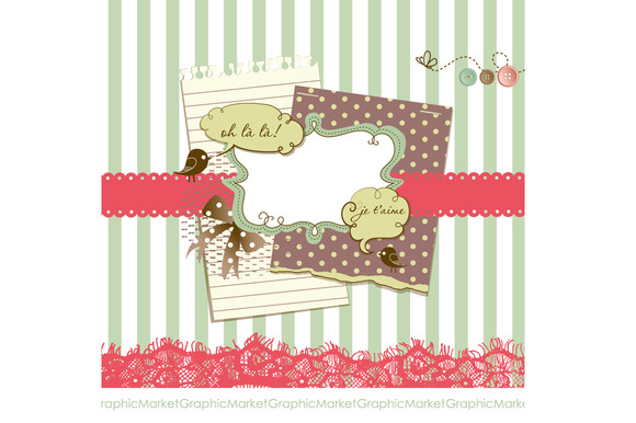 Vintage Scrapbook Papers Clip Art