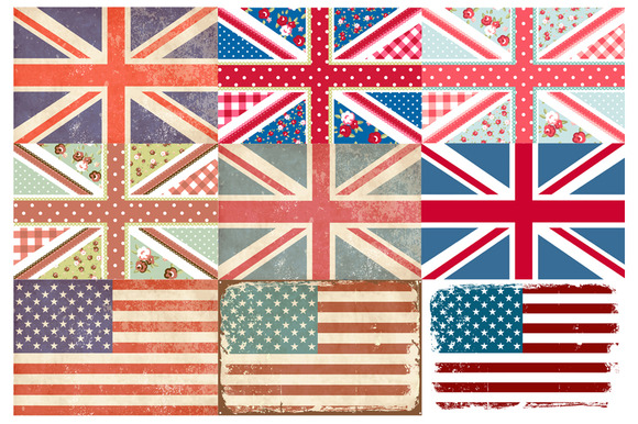 USA And UK Digital Flags Shabby Chic