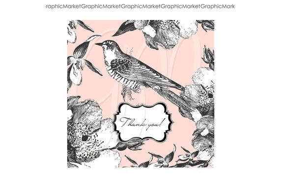 2 Beautiful Cards Bird Butterfly
