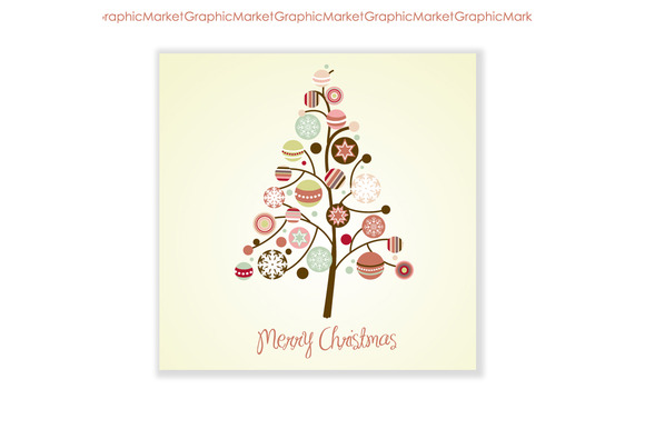 Xmas Tree Card Ornaments Clip Art