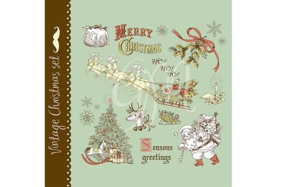 Christmas Vintage Style Clip Art