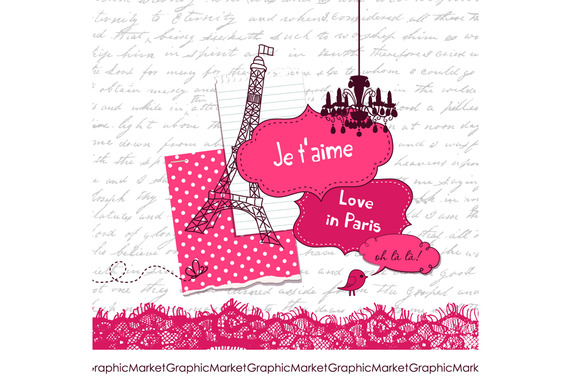 Scrapbook Set France Eiffel Tower
