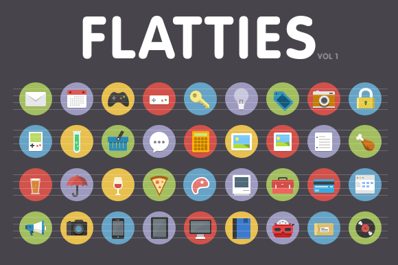 Flatties Vol 1 Flat Style Icon Set
