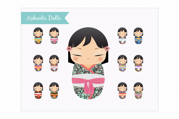 Clip Art Kokeshi Dolls