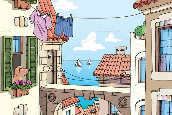 Old Mediterranean City Near The Sea