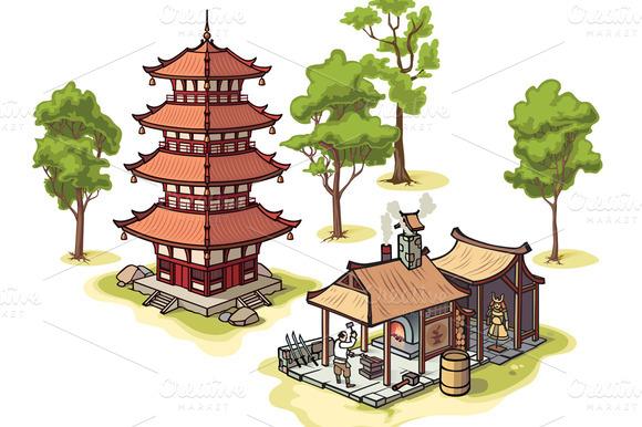 Pagoda The Blacksmith And Trees