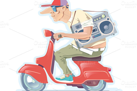 Man With The Boombox On A Scooter