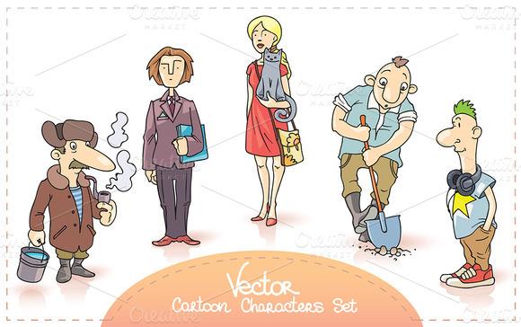 Vector Cartoon Characters Set