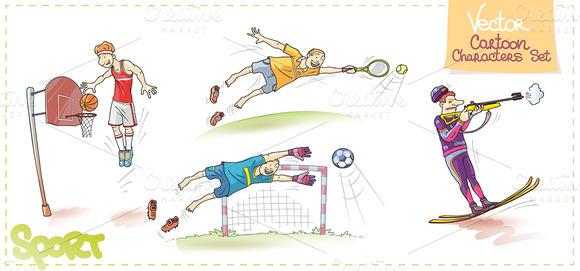 Vector Cartoon Characters Set Sport