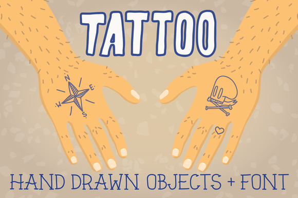 Old School Tattoo Objects Font