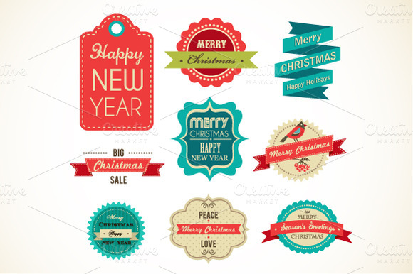 Christmas Vintage Labels Elements