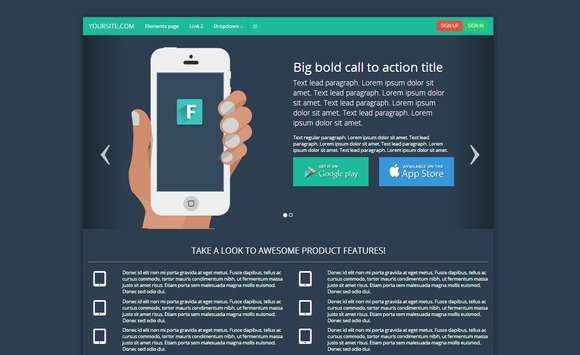 Bootstrap 3.0 Flat Landing Page