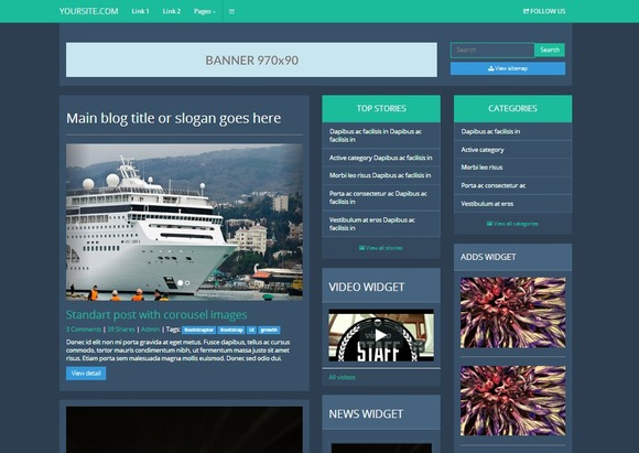 Bootstrap 3.0 Blog Flat Style