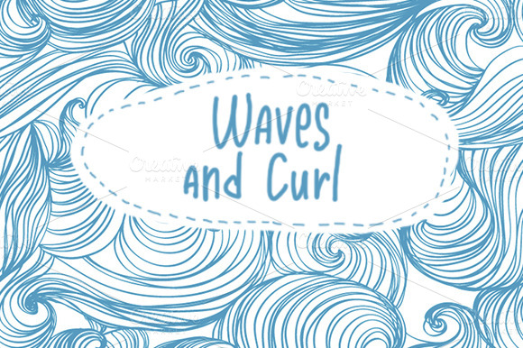 Waves And Curl Seamless Patterns