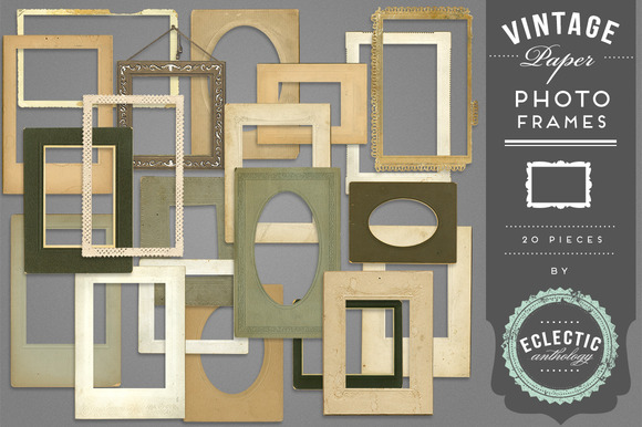 Vintage Paper Photo Frames Set 6