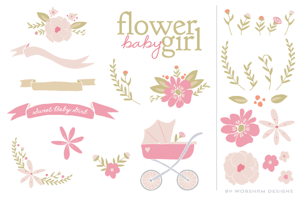 Flower Baby Girl Vector