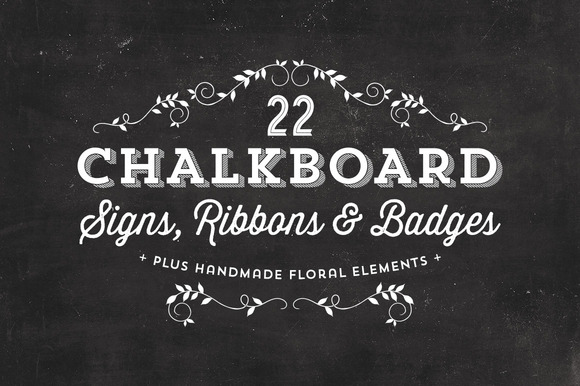 Chalkboard Signs Ribbons Badges
