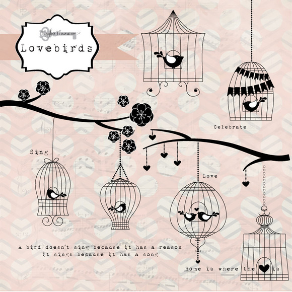 Lovebirds Birdcage Graphics