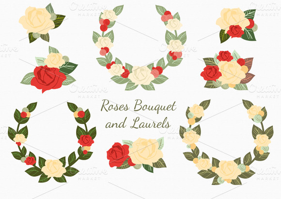 Roses Bouquet Laurels