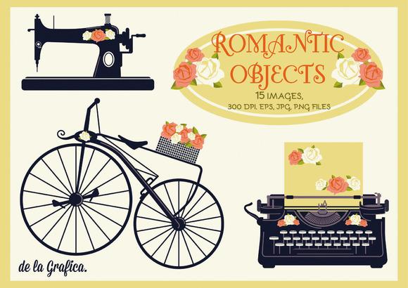 15 Romantic Objects Vector Set