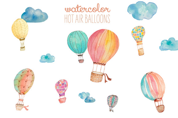 Watercolor Hot Air Balloons