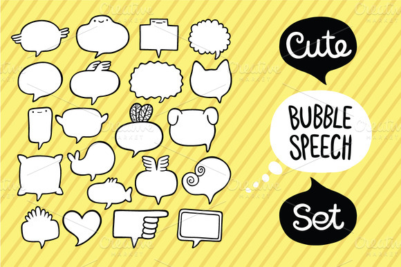 Cute Bubble Speech Set