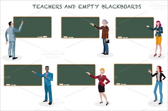 Teachers And Empty Blackboards