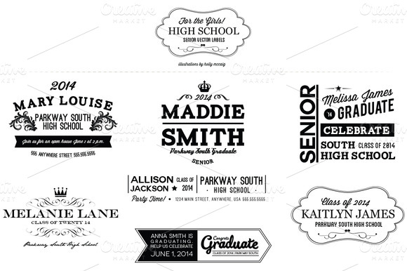 High School Senior Girl Labels