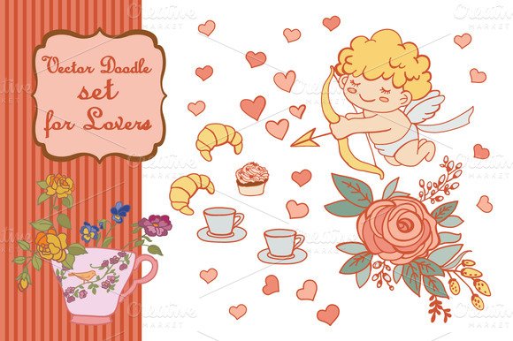 Vector Doodle Set For Lovers