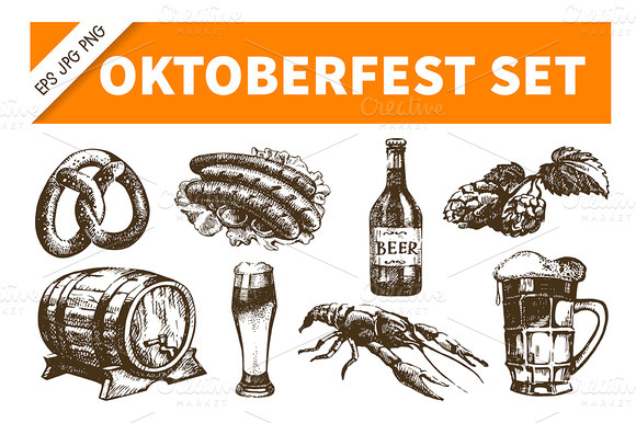 Oktoberfest Hand Drawn Beer Set