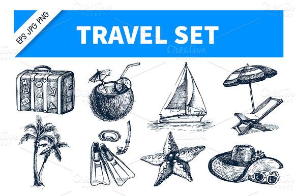 Travel Hand Drawn Set