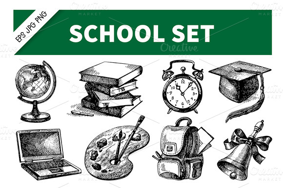 Back To School Hand Drawn Set