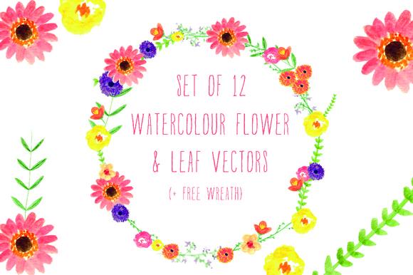 Watercolour Flowers Wreath