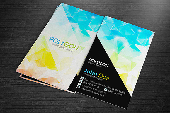 Colourful Polygonal Business Cards